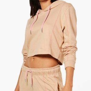 Tan/Pink Cropped Hoodie and Joggers Set!